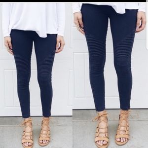 Navy moto biker jean leggings